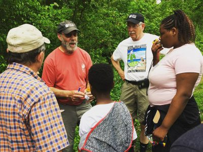 sierra club group learning about hiking trails